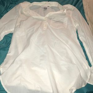 White Tunic Top w/Buttoned Sleeves